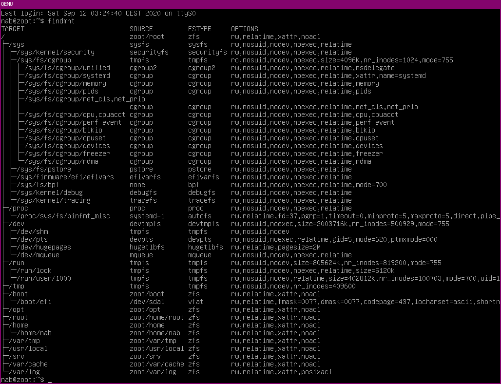 findmnt output, showing that all filesystems that should be ZFS (/, /home, &c.) are